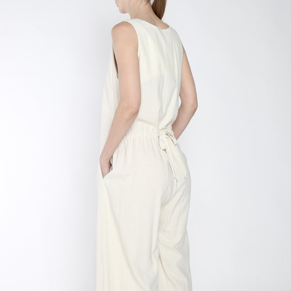 Raw Silk Wide-legged Jumpsuit - SS19 - Cream