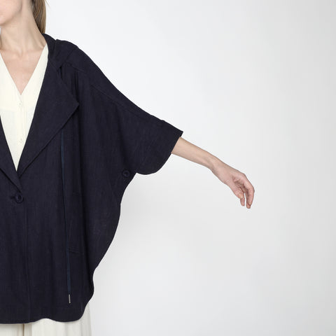 Hooded Poncho - SS19 - Navy