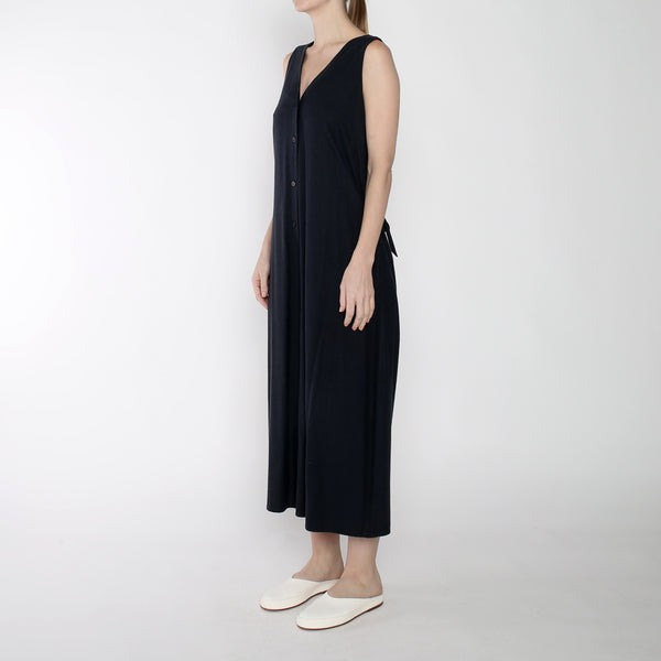 Raw Silk Wide-legged Jumpsuit - SS19 - Navy