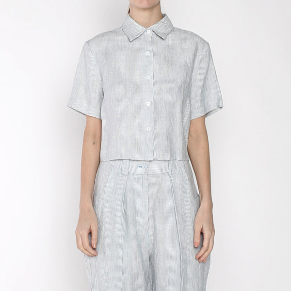 Pinstripe Cropped Button Down - SS19 - Blue Stripe