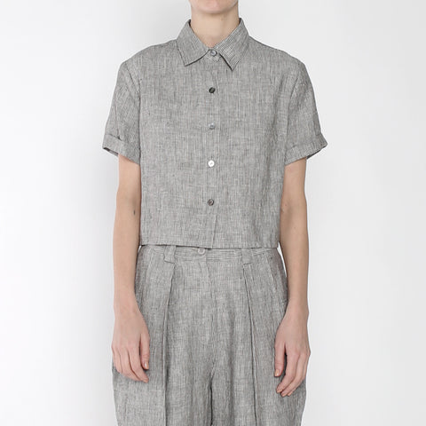 Pinstripe Cropped Button Down - SS19 - Black Stripe