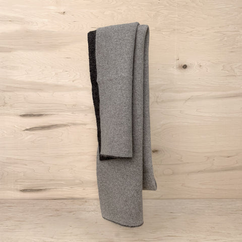Double Side Long Scarf - Charcoal/Taupe