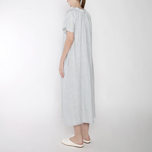 Pinstripe Ruched Neck Maxi - SS19 - Blue Stripe