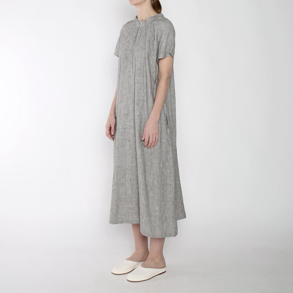 Pinstripe Ruched Neck Maxi - SS19 - Black Stripe