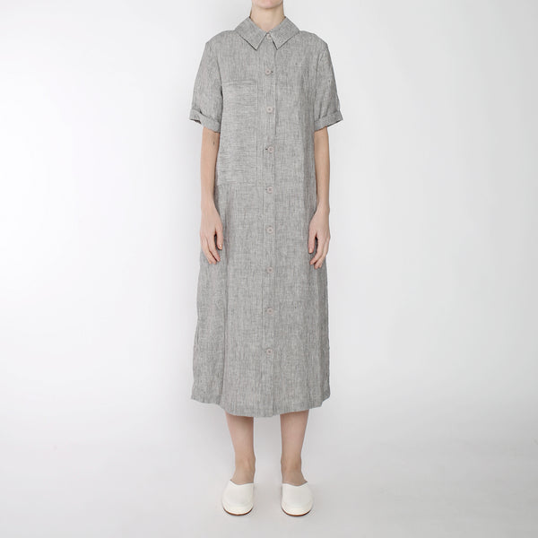 Pinstripe Long Pocket Shirtdress - SS19 - Black Stripe