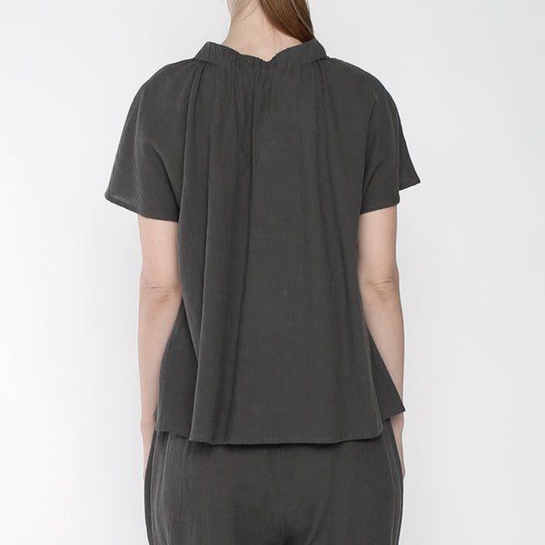 Ruched Neck Top - SS19 - Gray
