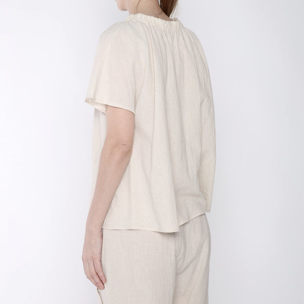Ruched Neck Top - SS19 - Beige