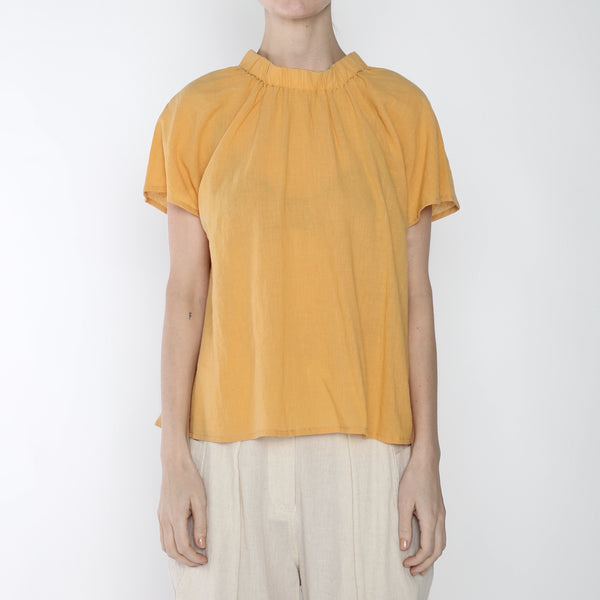 Ruched Neck Top - SS19 - Golden Yellow
