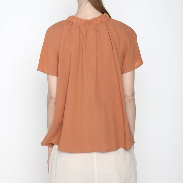 Ruched Neck Top - SS19 - Tangerine