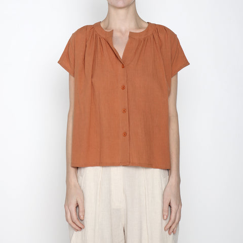 Pleated Button Down - SS19 - Tangerine