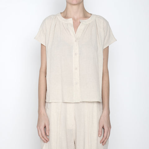 Pleated Button Down - SS19 - Beige