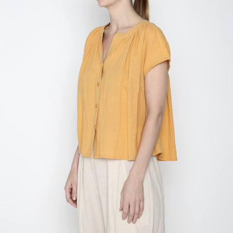 Pleated Button Down - SS19 - Golden Yellow