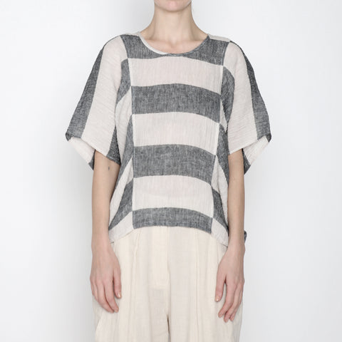Stripe Cocoon Panel Top - SS19 - Black Stripe