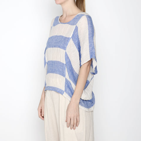 Stripe Cocoon Panel Top - SS19 - Blue Stripe