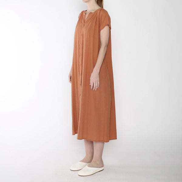 Pleated Button Down Maxi - SS19 - Tangerine