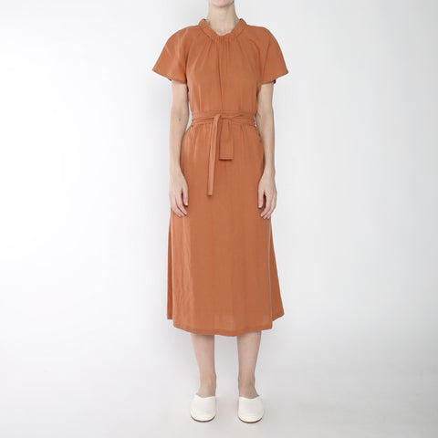 Ruched Neck Maxi - SS19 - Tangerine
