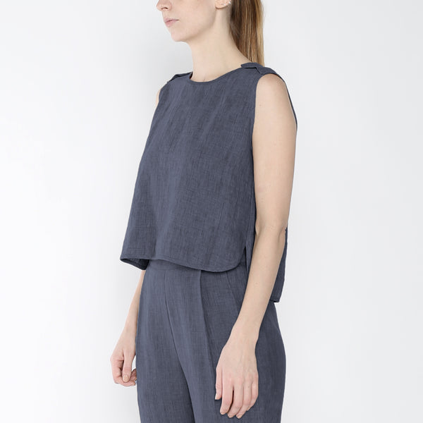 Signature Linen Crewneck Cropped Top - Slate Gray