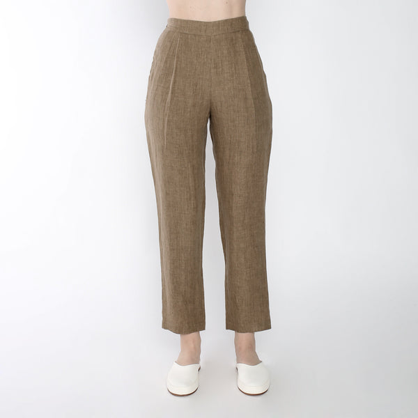 Signature Linen Relaxed Tapering Trouser - Ash Brown