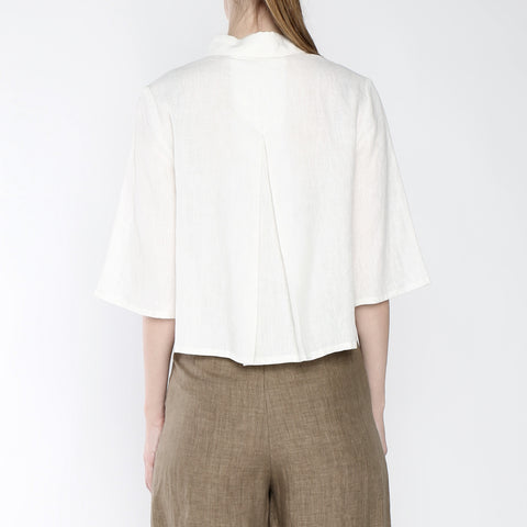 Signature Linen Back Pleated Button Down - Off-white