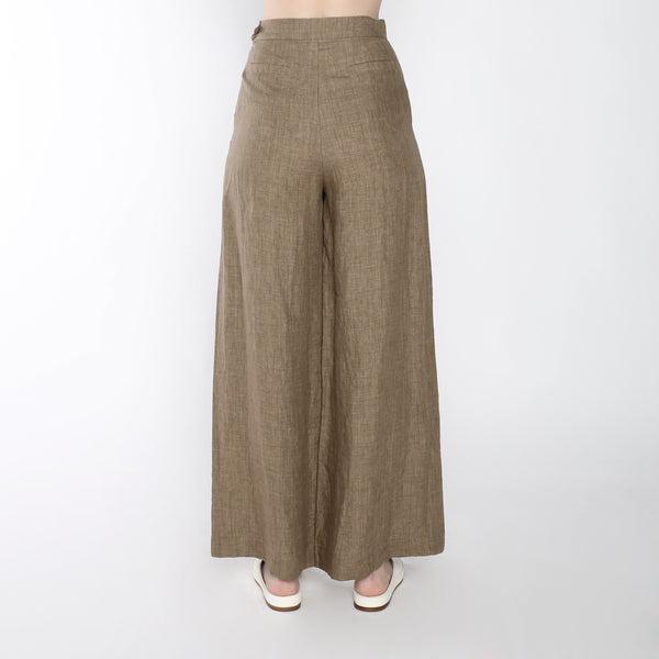 Signature Linen Wide Legged Trouser - Ash Brown