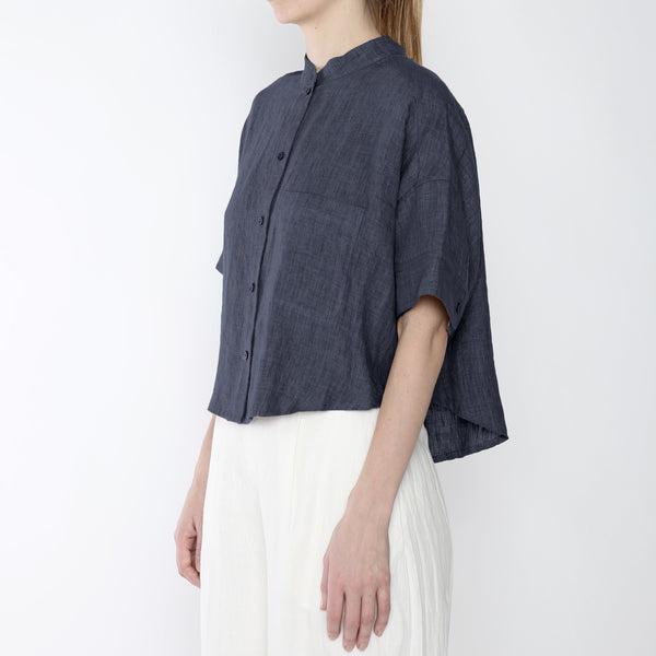 Signature Linen Pocket Cropped Top - Slate Gray