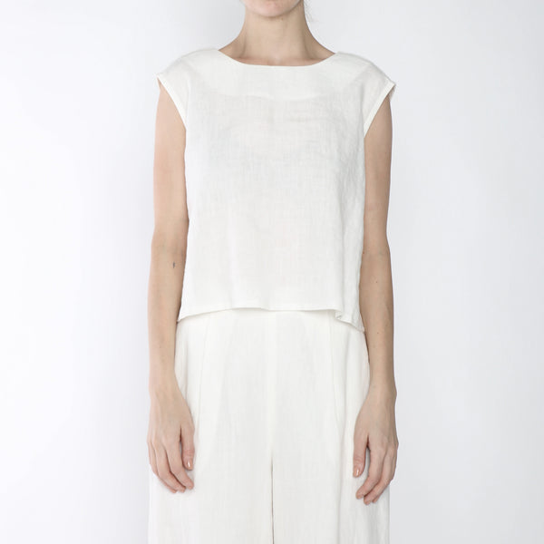 Signature Linen Reversible Tank - Off-white