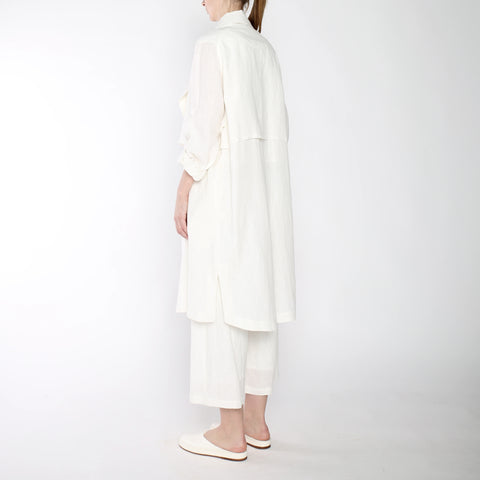 Signature Linen Trench Duster - Off-White