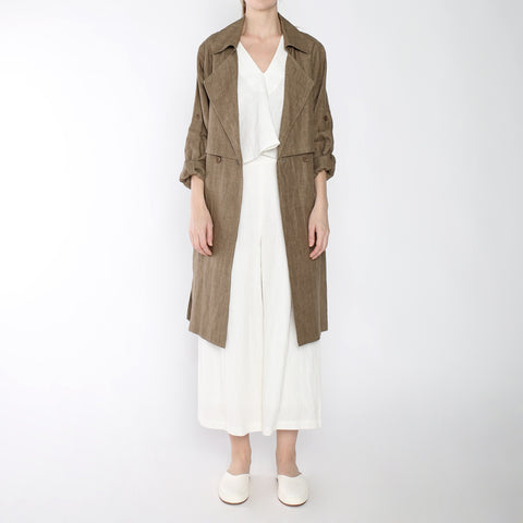 Signature Linen Trench Duster - Ash Brown