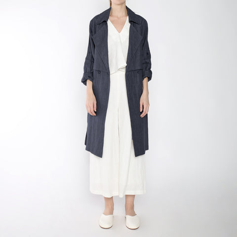 Signature Linen Trench Duster - Slate Gray