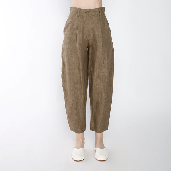 Signature Linen Lantern Trouser - Ash Brown