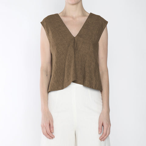 Signature Linen Reversible Tank - Ash Brown