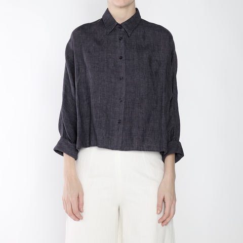 Signature Linen ¾ Cropped Shirt Jacket - Slate Gray