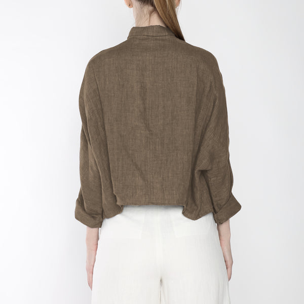 Signature Linen ¾ Cropped Shirt Jacket - Ash Brown