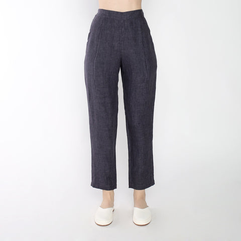 Signature Linen Relaxed Tapering Trouser - Slate Gray