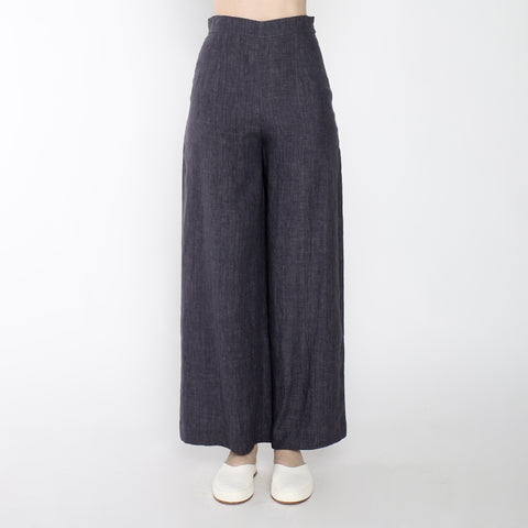 Signature Linen Wide Legged Trouser - Slate Gray