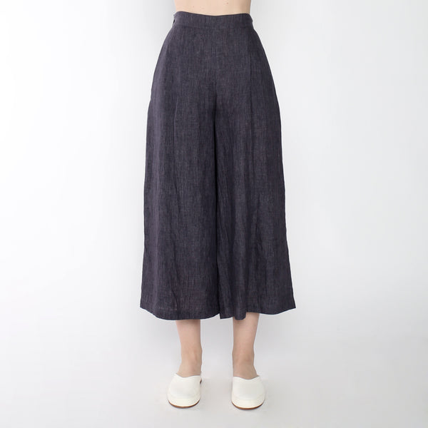 Signature Linen Cropped Wide Legged Trouser - Slate Gray