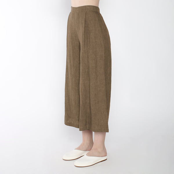 Signature Linen Cropped Wide Legged Trouser - Ash Brown