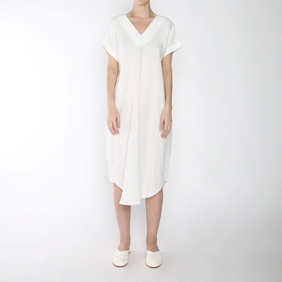 Signature Linen T-Shirt Reversible Maxi - Off-White