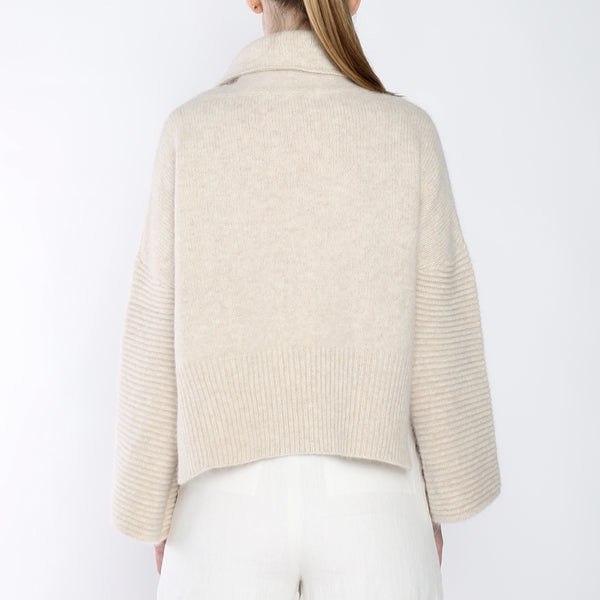 Bell-Sleeves Cropped Sweater - Merino - Beige - FW18
