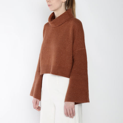 Bell-Sleeves Cropped Sweater - Merino - Rust - FW18