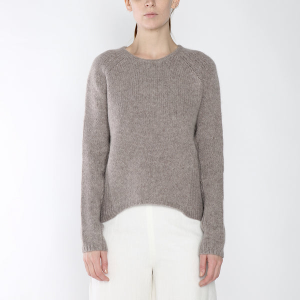 Side-Ribbed Sweater - Merino - Taupe - FW18