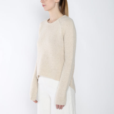 Side-Ribbed Sweater - Merino - Beige - FW18