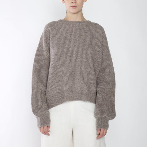 Poet Sleeves Ribbed Sweater - Merino - Taupe - FW18