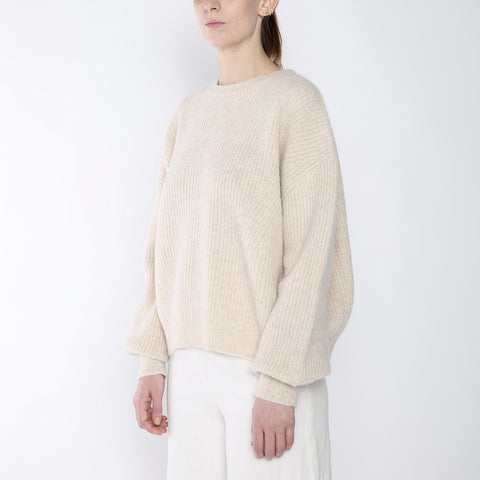 Poet Sleeves Ribbed Sweater - Merino - Beige - FW18
