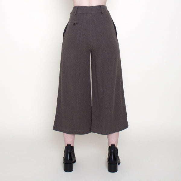 Linen Wide-Legged Cropped Trouser - Deep Olive - FW18