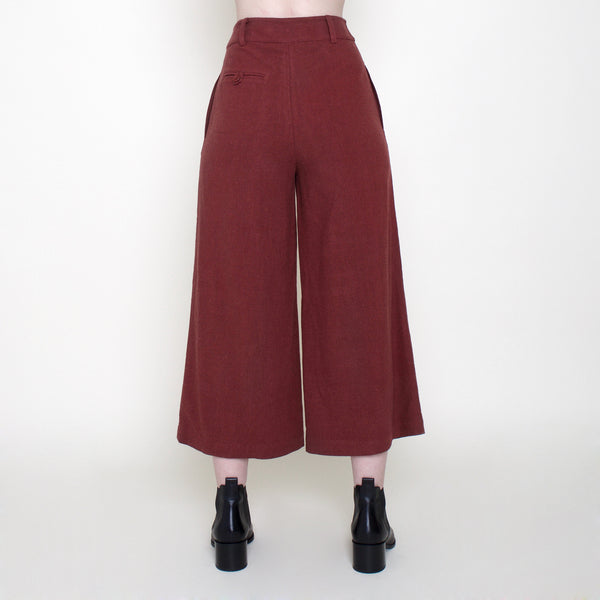 Linen Wide-Legged Cropped Trouser - Rust - FW18
