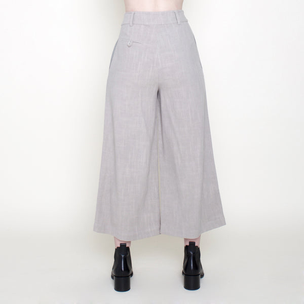 Linen Wide-Legged Cropped Trouser - Sand - FW18