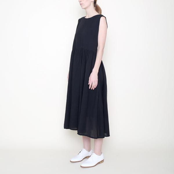 Linen Jumper Dress - Black - SS18
