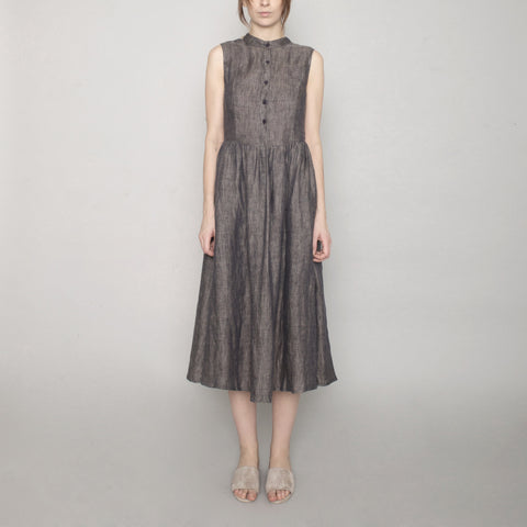 Linen Princess Dress - Charcoal - SS17