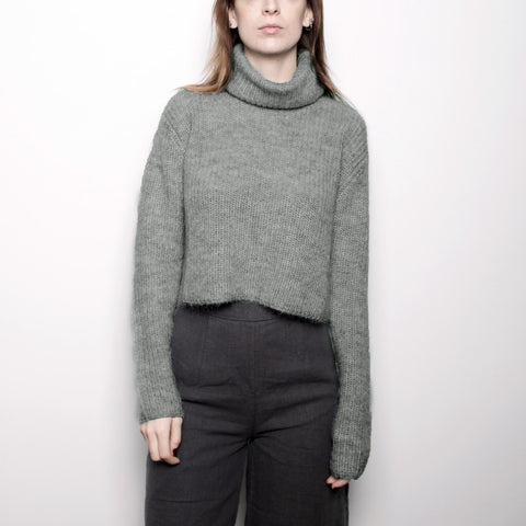 Mohair Turtleneck Cropped Sweater - Eucalyptus FW16